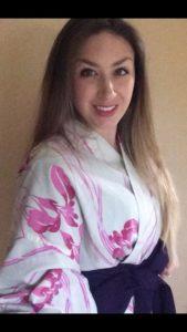 american girl in kimono